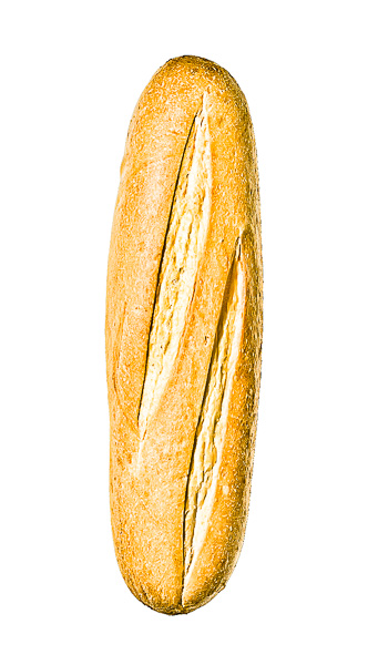 """Photo of a loaf of Italian Bread, laid out as the letter """"I"""""""