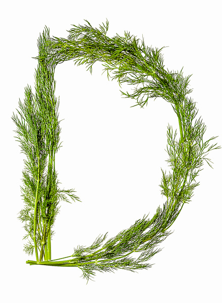 """Photo of Dill laid out in the shape of the letter """"D"""""""