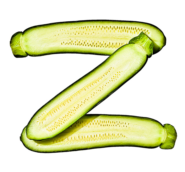 "Photo of Sliced Zucchini, laid out in the shape of the letter ""Z"""