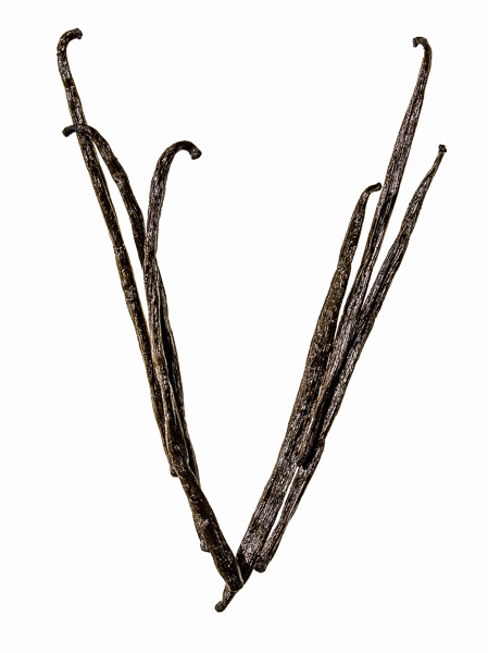 """Photo of Vanilla Beans, laid out in the shape of the letter """"V"""""""