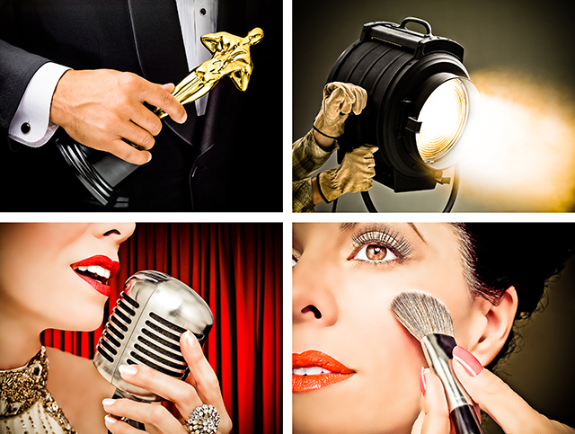 Photo Illustrations of someone holding an award, a movie studio light, a singers lips at a microphone, and make-up being applied