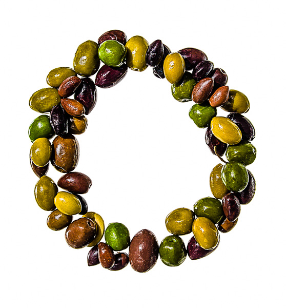 "Photo of Olives, laid out in the shape of the letter ""O"""