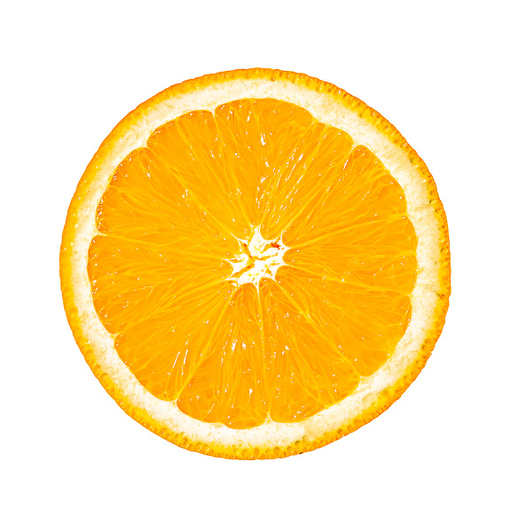"Photo of an Orange slice representing the letter ""O"""