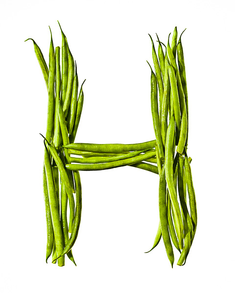 "Photo of Haricots Verts, laid out in the shape of the letter ""H"""