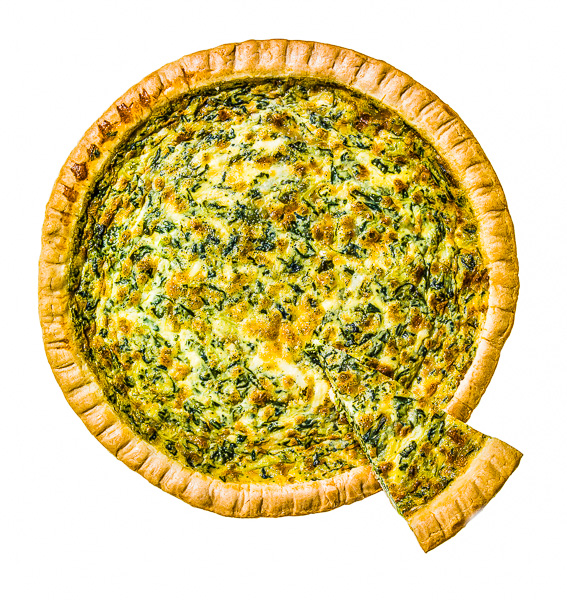 "Photo of a quiche with a slice extending out in the lower right, forming  the letter ""Q"""