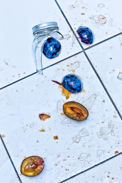 Image of broken jar of preserved plums. © 2014 Dana Hursey Photography