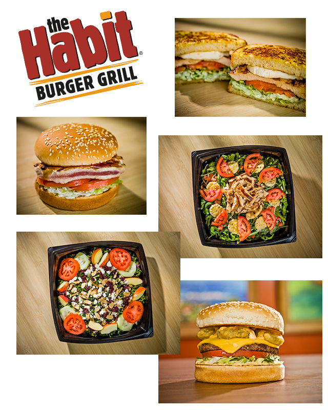 Photos of various menu items from The Habit Burger Grill