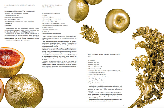 Photo of fruits and vegetables painted gold