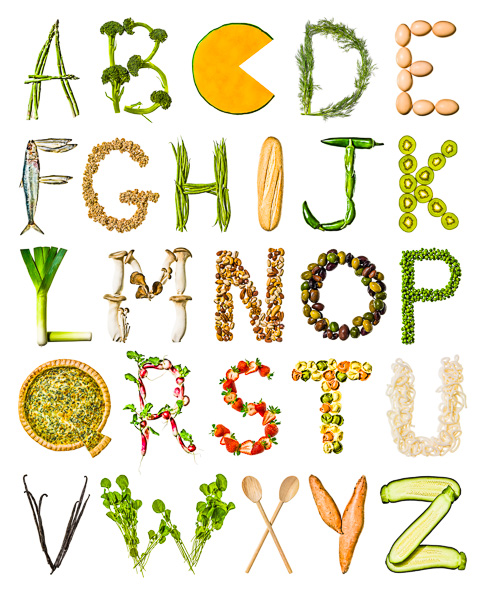 The Alphabet - constructed from food products that start with each respective letter.