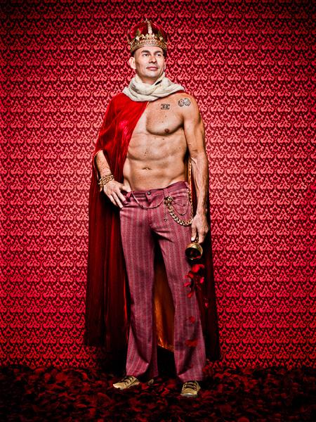 Photograph of Mario Melendez dress as a king.