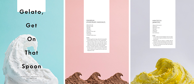 Photo spread of gelato recipes.