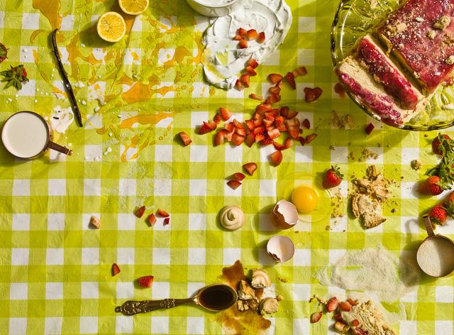 Photo of Strawberry Rhubarb Semifreddo with Meringue Drops