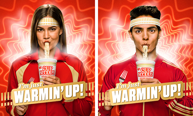 images of people slurping Cup Noodles
