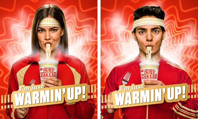 images of people slurping Cup Noodles